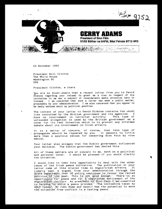 Letter from Gerry Adams to President Clinton