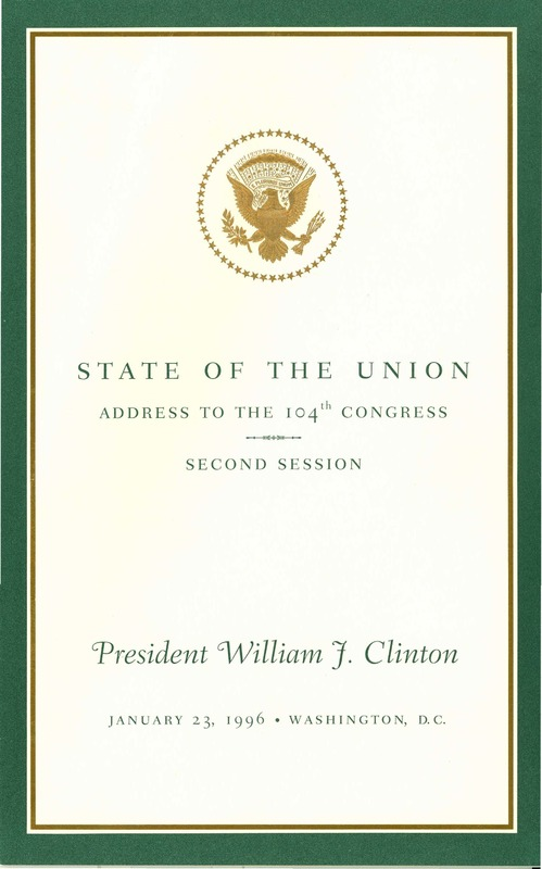 State of the Union Address to the 104th Congress
