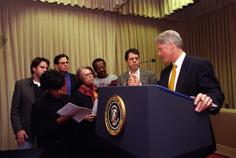 President Clinton and speechwriters practice for the 1998 State of the Union Address