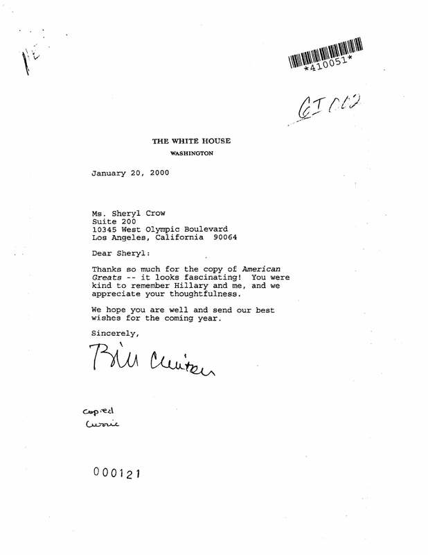 Letter to Sheryl Crow from President Clinton