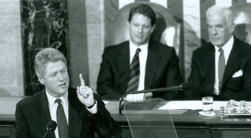 President Clinton gives his first address before a Joint Session of Congress