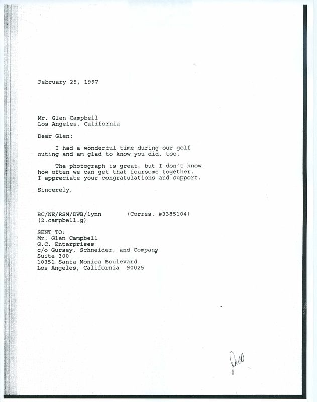 Letters between President Clinton and Glen Campbell