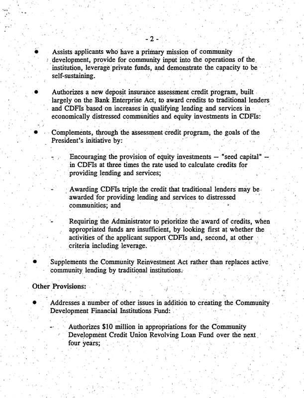 Summary of The Riegle Community Development and Regulatory Improvement Act