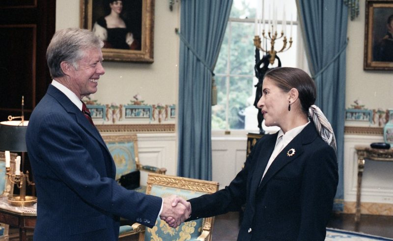 President Jimmy Carter greets Ruth Bader Ginsburg in the Oval Office