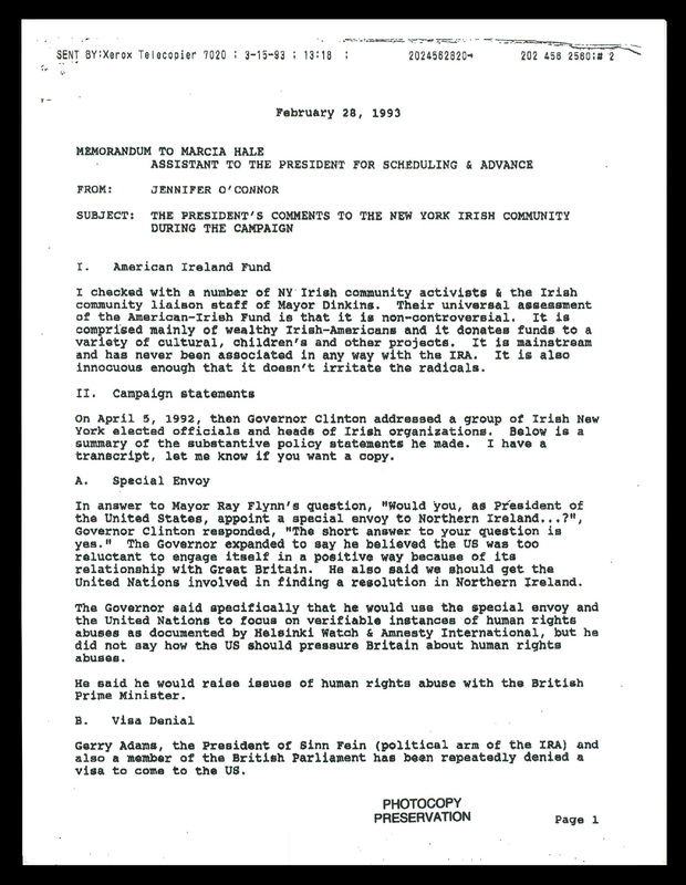 Memorandum to Marcia Hale from Jennifer O'Connor