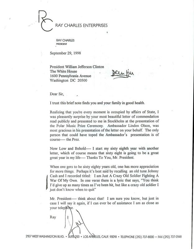 Letter from Ray Charles to President Clinton, and note in return from President Clinton to Ray Charles