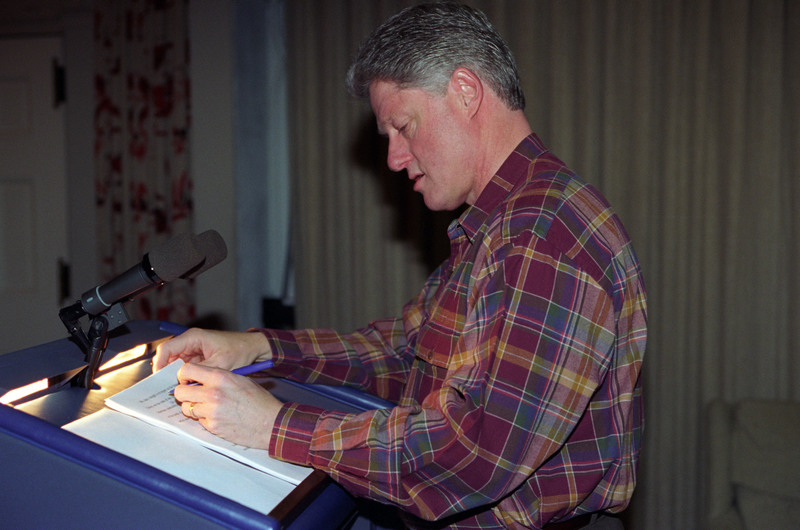 President Clinton edits the State of the Union Address