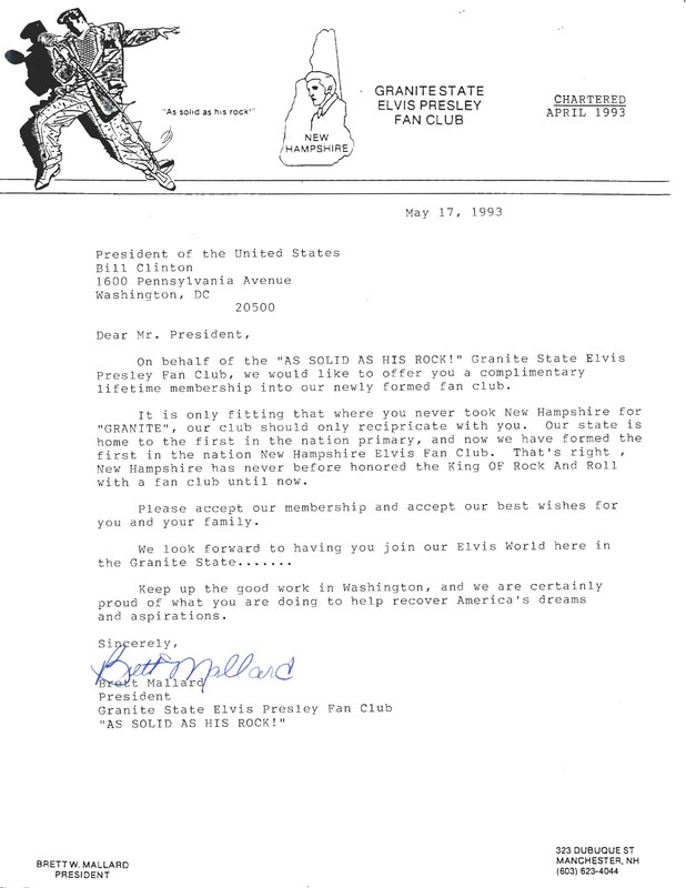 Elvis Presley Fan Club Letter