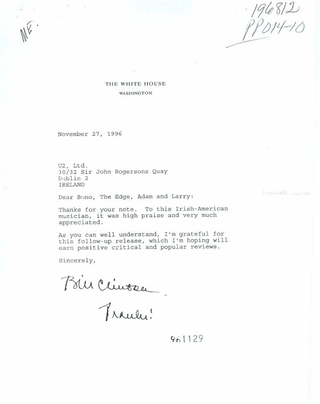 Note from President Clinton to the band U2