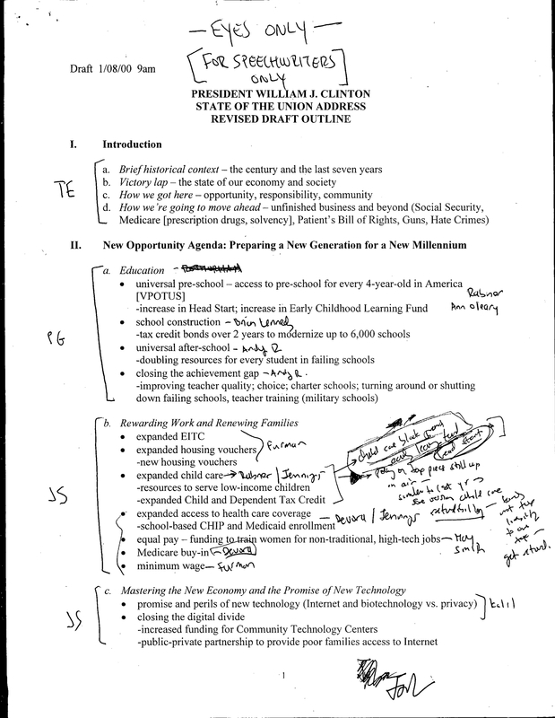 State of the Union Address Revised Draft Outline