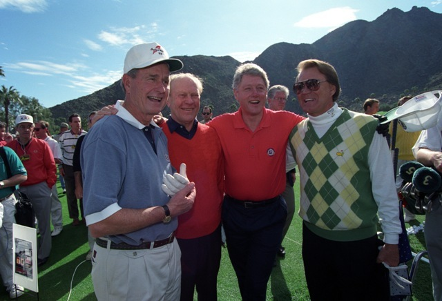 Glen Campbell, Bill Clinton, Gerald Ford, and George H. W. Bush after playing a round of golf at the Bob Hope Chrysler Classic in California.
