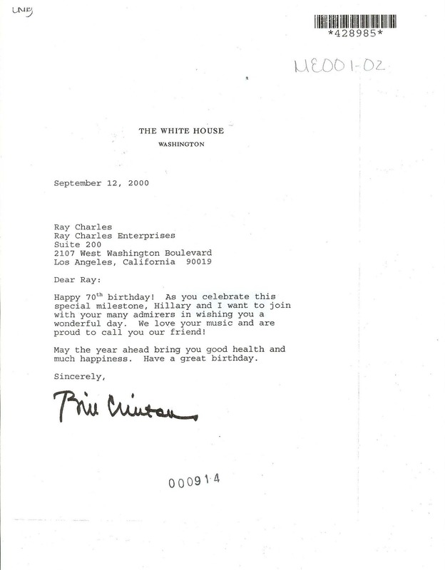 Letter from President Clinton to Ray Charles