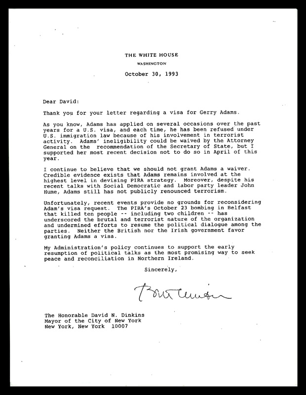 Correspondence to and from New York City Mayor, David Dinkins