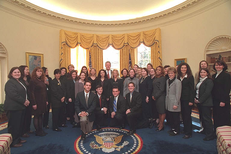 2001 Photo of the First Lady's Office Staff in the Oval Office
