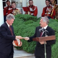 President Clinton Meeting with the NCAA 1993 Basketball Champions - University of North Carolina's Men's Team and Texas Tech's Women's Team