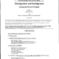 Immigration (Portland State 6/98) Immigrant Experience Assimilation