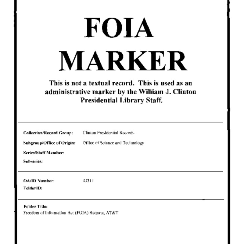 Freedom of Information Act (FOIA) Request, AT and T