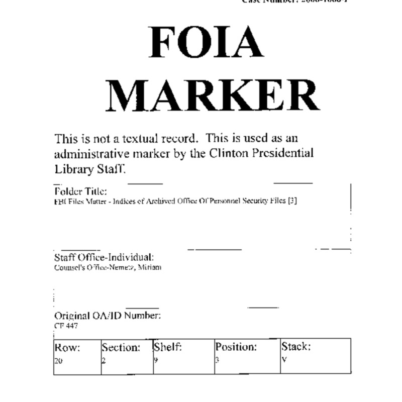 FBI Files Matter – Indices of Archived Personnel Security Files [3]