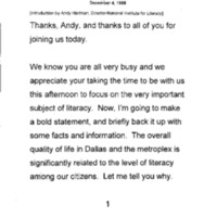 [Dallas Literacy Luncheon John Appel Remarks]