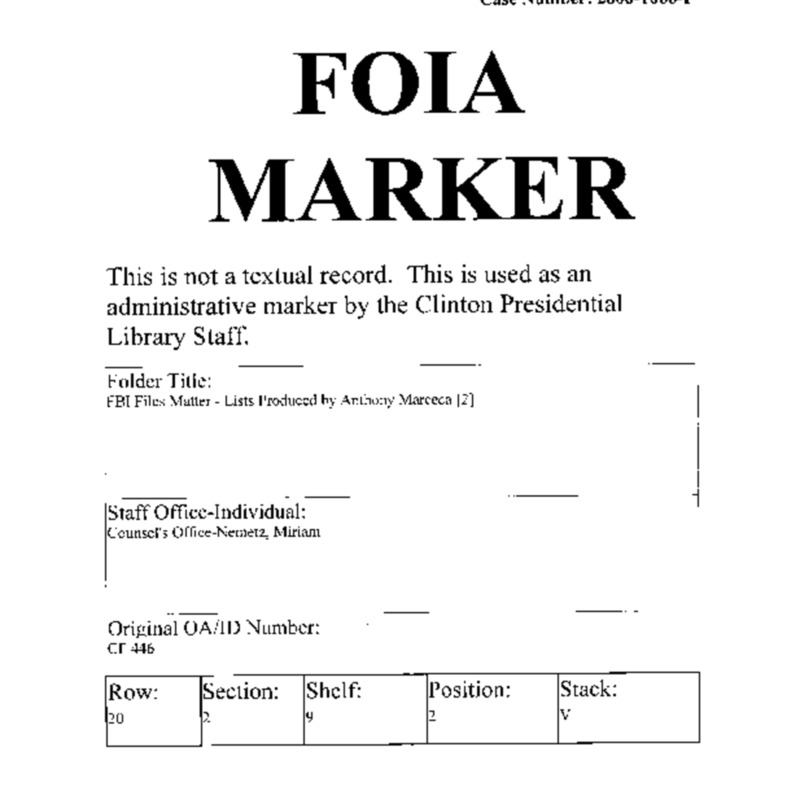 FBI Files Matter – Lists Produced by Anthony Marceca [2]