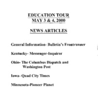Education Tour May 3 and 4, 2000 - News Articles