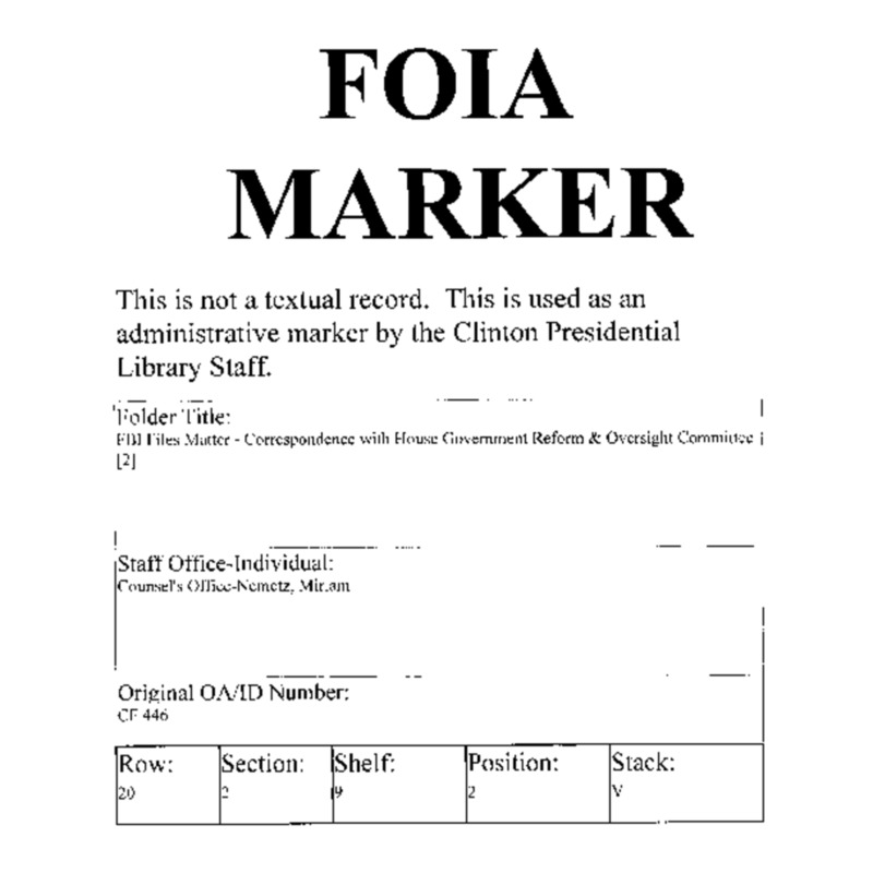 FBI Files Matter – Correspondence with House Government Reform & Oversight Committee [2]