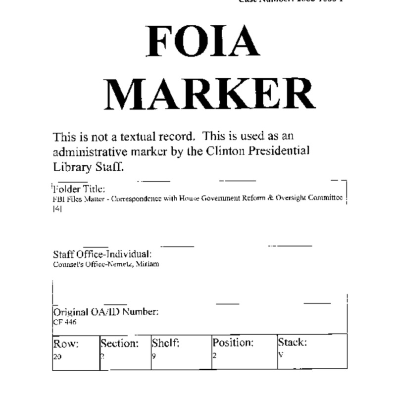 FBI Files Matter – Correspondence with House Government Reform & Oversight Committee [4]