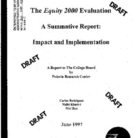 [The Equity 2000 Evaluation - Impact and Implementation] [Report]
