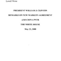 New Markets [Agreements and China PNTR] 5/23/00