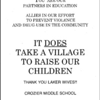 [LA Lakers-Crozier Middle School Partnership to Prevent Violence/Drug Use] [Loose]