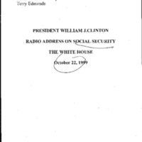 RA [Radio Address] Social Security 10/22/99 [1]
