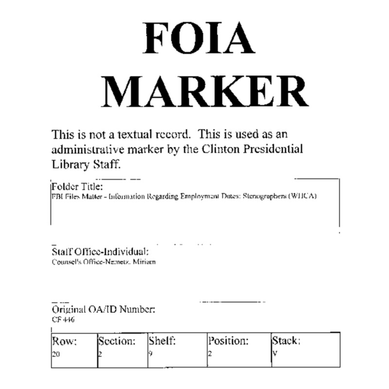 FBI Files Matter – Information Regarding Employment Dates: Stenographer