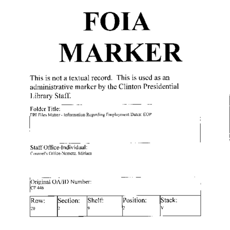 FBI Files Matter – Information Regarding Employment Dates: Information re: Lists of Employees