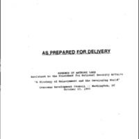 """Lake - """"Enlargement and Developing World"""", ODC - 10/13/93"""