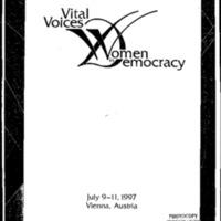 Vital Voices [Folder 2]: Women in Democracy July 9-11, 1997 Vienna, Austria