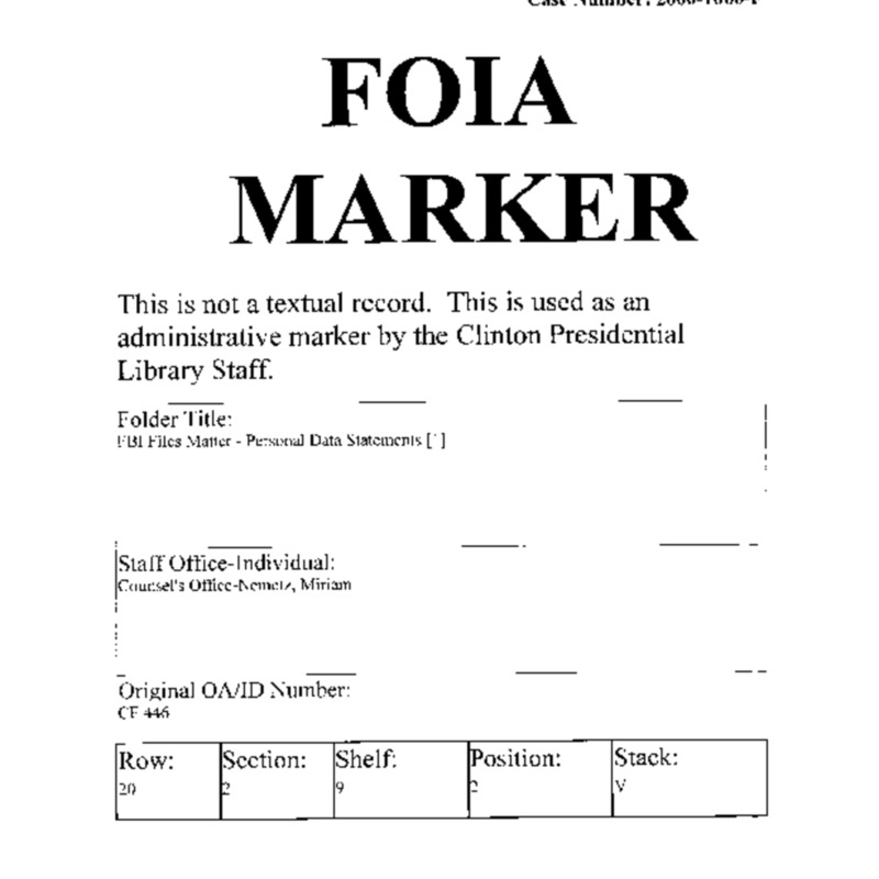 FBI Files Matter – Personal Data Statements [1]