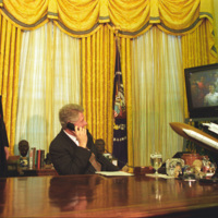 President William Jefferson Clinton and Vice President Albert Gore on the Phone with STS-63.