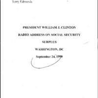 [Radio Address Social Security] 9/24/99