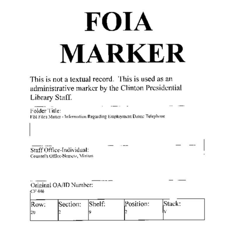 FBI Files Matter – Information Regarding Employment Dates: Telephone
