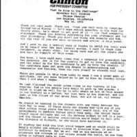 Gov. Clinton Speeches in Cities