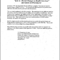 Health Reform-Recent Changes in Health Care Law Revised Supplement