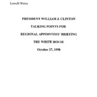 Regional Administrators [Appointees' Briefing] 10/27/98