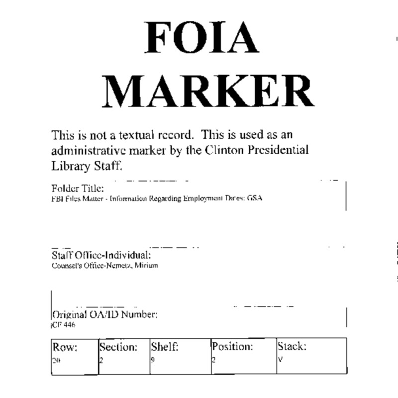 FBI Files Matter – Information Regarding Employment Dates: EOP
