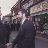 President Clinton shaking hands with Sinn Fein leader Gerry Adams