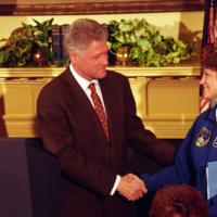 Eileen Collins Shaking Hands with President William Jefferson Clinton