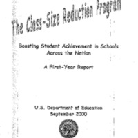 [Education - Class Size Reduction]