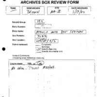 Archives Box-Review Forms, Non-Gold Financial Assets Team, Brown, Davidson [2]