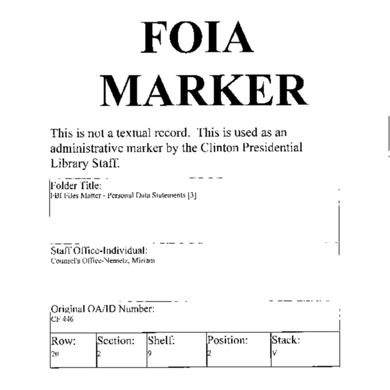 FBI Files Matter – Personal Data Statements [3]