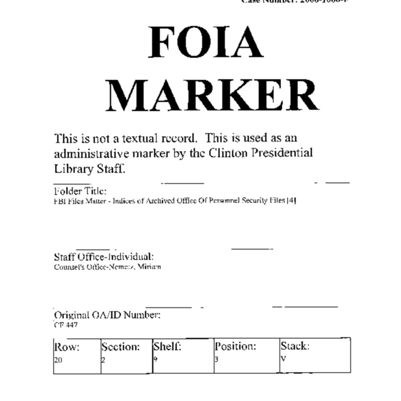 FBI Files Matter – Indices of Archived Personnel Security Files [4]
