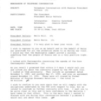 Memorandum of Telephone Conversation - President Boris Yeltsin of Russia